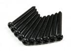 Screw Round Head Phillips M3x28mm Self Tapping Steel Black (10pcs)