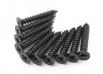 Screw Flat Head Phillips M4x26mm Self Tapping Steel Black (10pcs)