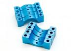 Azul anodizado CNC semicírculo aleación de tubo de sujeción (incl.screws) 12mm