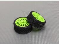 Rueda / neumático Conjunto (rueda verde) (2pcs / bolsa) - 1/16 4WD sin escobillas Mini coche de la reunión