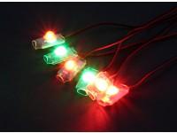 Turnigy super brillante 4 x Rojo / Verde 2 x Juego de luces LED con la alarma de bajo voltaje