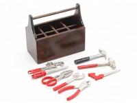 Escala 1/10 caja de herramientas de madera con herramientas
