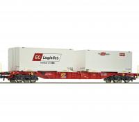Roco/Fleischmann HO Scale Flat Double Bogie Container Carrier Wagon OBB