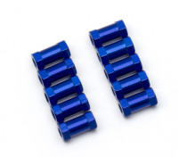Ligera Ronda de aluminio Sección espaciador M3x10mm (azul) (10 piezas)