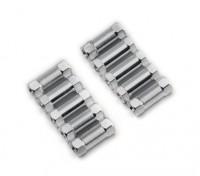 Ligera Ronda de aluminio Sección espaciador M3x13mm (plata) (10 piezas)