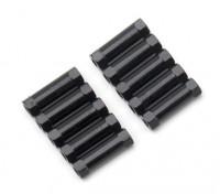 Ligera Ronda de aluminio Sección espaciador M3x17mm (Negro) (10 piezas)
