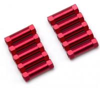 Ligera Ronda de aluminio Sección espaciador M3x17mm (rojo) (10 piezas)