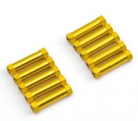 Ligera Ronda de aluminio Sección espaciador M3x20mm (oro) (10 piezas)