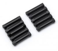 Ligera Ronda de aluminio Sección espaciador M3x22mm (Negro) (10 piezas)