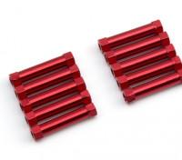 Ligera Ronda de aluminio Sección espaciador M3x24mm (rojo) (10 piezas)