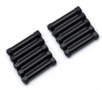 Ligera Ronda de aluminio Sección espaciador M3x26mm (Negro) (10 piezas)