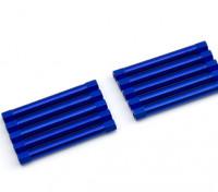 Ligera Ronda de aluminio Sección espaciador M3x45mm (azul) (10 piezas)