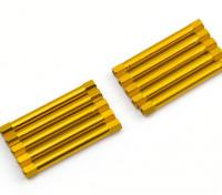 Ligera Ronda de aluminio Sección espaciador M3x45mm (oro) (10 piezas)