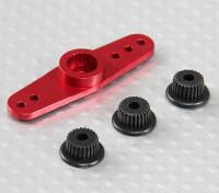Universal de aluminio de dos vías brazo de Servo - JR, Futaba y HITEC (rojo)