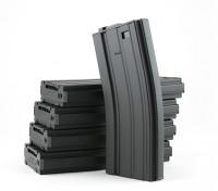 King Arms 300 rondas de revistas de metal de cuerda para M4 / M16 AEG (negro, 5pcs / caja)
