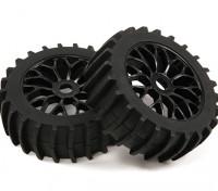 1/8 Escala Negro de múltiples ruedas de radios con la paleta Estilo Neumáticos (2 piezas)