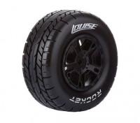 LOUISE SC-ROCKET 1/10 Escala de neumáticos para camiones Compuesto suave / Negro Borde (Para TRAXXAS raya vertical delantera) / Montada