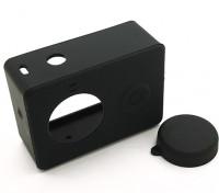 Funda protectora de silicona y la tapa del objetivo para la acción de la cámara Xiaoyi (Negro)