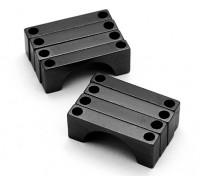 Negro anodizado CNC semicírculo aleación de tubo de sujeción (incl.screws) 28mm