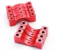 Rojo anodizado CNC abrazadera de tubo de aleación semicírculo (incl.screws) 15mm