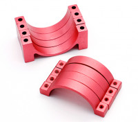 Rojo anodizado CNC semicírculo aleación de tubo de sujeción (incl.screws) 28mm