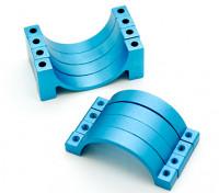 Azul anodizado CNC abrazadera de tubo de aleación semicírculo (incl.screws) 20mm