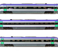 Southern Rail HO Scale VLocity VL24 V-Line DMU Rail Car Set DCC and Sound Ready (Mauve/Green/Yellow)