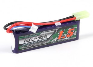 Turnigy nano-tech 1500mAh 2S 20-40C Lipo AIRSOFT Paquete