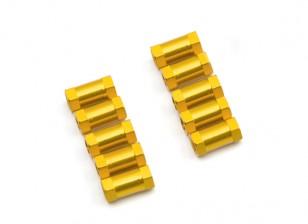 Ligera Ronda de aluminio Sección espaciador M3x10mm (oro) (10 piezas)