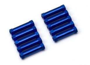 Ligera Ronda de aluminio Sección espaciador M3x20mm (azul) (10 piezas)