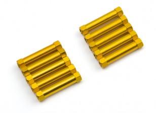 Ligera Ronda de aluminio Sección espaciador M3x25mm (oro) (10 piezas)