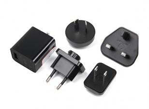USB 2.5A 5V fuente de alimentación intercambiable con el condado de Los tapones (UE, Estados Unidos, Reino Unido, AU)