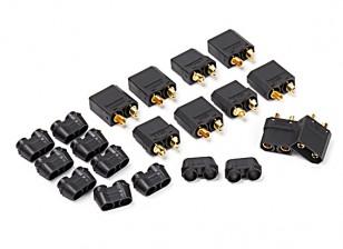 Nylon XT90 conectores macho / hembra (5 pares) Negro