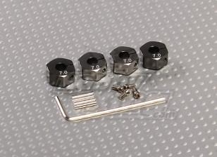 Adaptadores de aluminio color titanio con tornillos de bloqueo de ruedas - 7 mm (12 mm Hex)