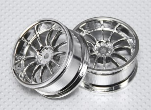 Escala 1:10 Juego de ruedas (2pcs) Dividir Chrome 6 Rayos RC 26 mm de coches (3 mm Offset)