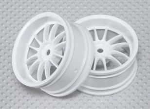 Escala 1:10 Juego de ruedas (2pcs) Blanco de Split y 6 Rayos RC 26 mm de coches (3 mm de desplazamiento)