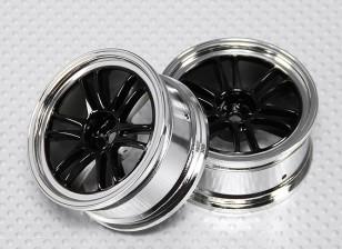 Escala 1:10 Juego de ruedas (2pcs) Negro / Cromo de Split y 6 Rayos RC 26mm Car (sin desplazamiento)