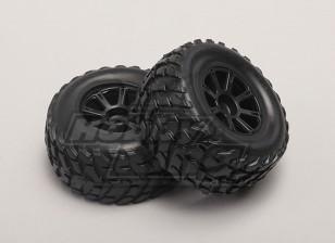 Ruedas / Neumáticos (2pcs / bolsa) - 1/18 4WD RTR corta Curso de camiones