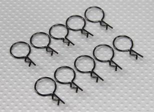 Clips cuerpo a gran anillo (Negro) (10 piezas)