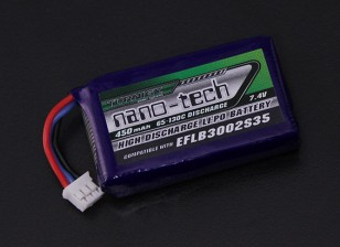 Turnigy nano-tech 450mAh 65C Lipo 2S (E-Flite Compatible - Hoja 130X EFLB3002S35)