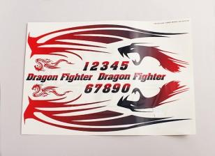 Dragón del combatiente de la etiqueta Hoja grande 445mmx300mm