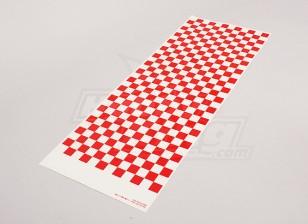 Hoja de la etiqueta pequeña Chequer modelo rojo / 590mmx180mm Claro