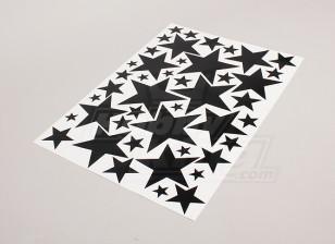 Estrella Negro / blanco Varios 425mmx300mm Hoja Tamaños de la etiqueta