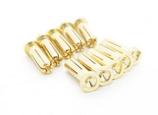 5mm Hombre chapado en oro de primavera de conector - Perfil Bajo (10 piezas)