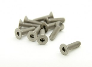 Titanio M3 x 12mm avellanada hexagonal del tornillo (10pcs / bag)