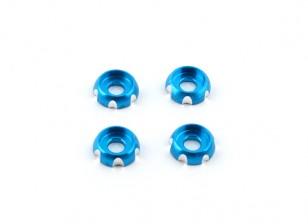 3 mm de aluminio CNC cabeza redonda Lavadora - azul (4pcs)