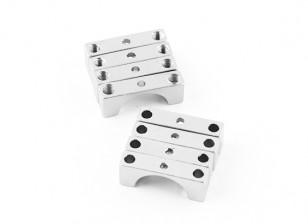 Plata anodizado CNC de doble cara de aluminio tubo de sujeción 12 mm Diámetro