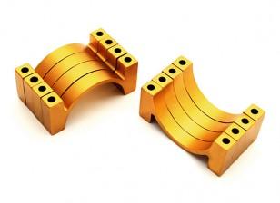 El oro anodizado CNC semicírculo aleación de tubo de sujeción (incl. Tuercas y tornillos) 30mm