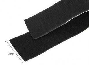 Poliéster velcro Peel-n-stick (Negro) (1 metro)