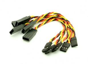 10cm JR 22 AWG trenzado cable de prolongación L a V 5pcs